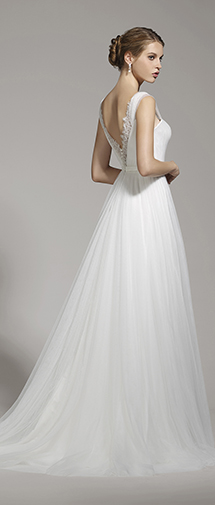 Sheath Straps Tulle Ivory Sleeveless Wedding Dress with Sashes and Draped AWXT15001