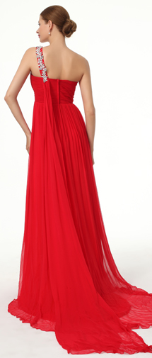 A Line One Shoulder Court Train Chiffon Red Bridesmaid Dress F12008