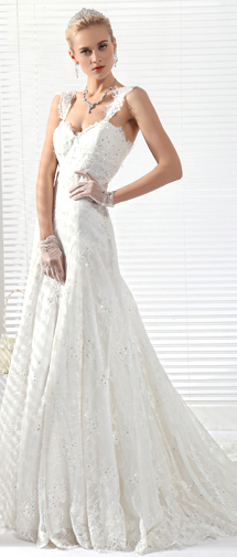 A Line Spaghetti Strap Chapel Train Lace Wedding Dress Alb12294