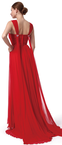 A Line Straps Sweep Brush Train Chiffon Red Bridesmaid Dress F12004