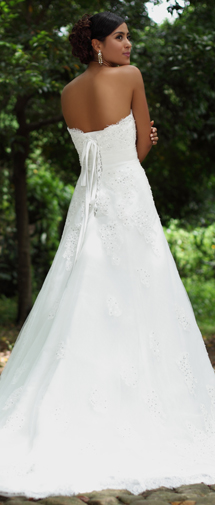 A Line Sweetheart Chapel Train Lace Wedding Dress Alb12285