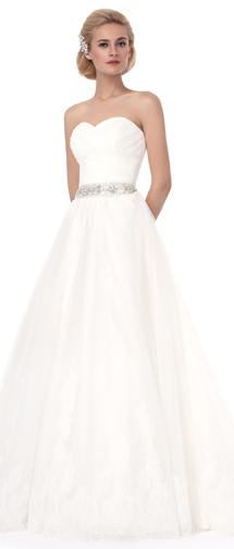 A Line Sweetheart Court Train Lace Wedding Dress Alb12295