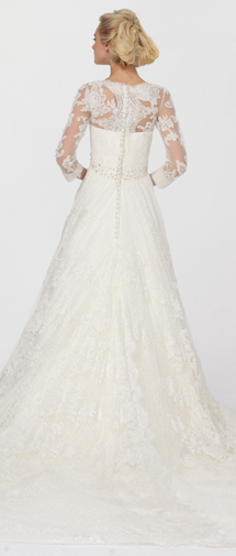 A Line V Neck Chapel Train Lace Wedding Dress Alb12077