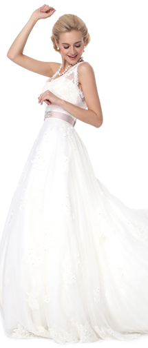 A Line V Neck Court Train Lace Wedding Dress Alb12289