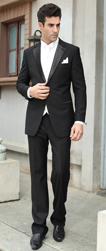 Black 2 Buttons Notch Lapel Wedding Suit Su0108