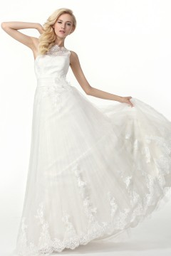 A Line Tank Top Court Train Lace Wedding Dress Alb12322