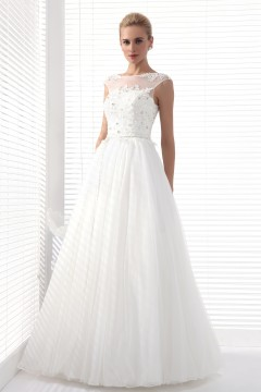 A Line Tank Top Sweep Brush Train Tulle Wedding Dress Alb12300