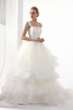 Ball Gown Straps Court Train Lace Wedding Dress Alb12228