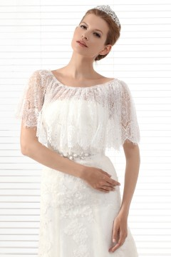 Ivory Half Sleeve Lace Wedding Wrap Ac5018
