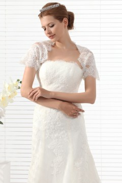 Ivory Short Sleeve Lace Wedding Wrap Ac5027