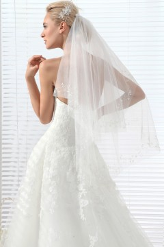 Ivory Waist Length 2 Layer Bridal Veil Ac1283