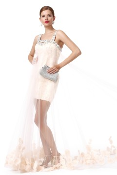 Sheath Column Spaghetti Strap Court Train Tulle Champagne Evening Dress F12091