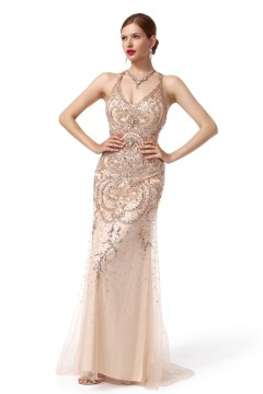 Sheath Column V Neck Sweep Brush Train Tulle Champagne Evening Dress F12086