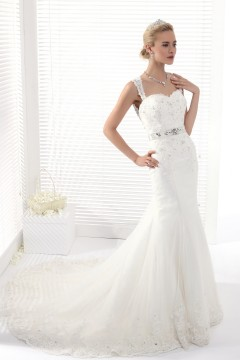 Trumpet Mermaid Straps Chapel Train Lace Wedding Dress Alb12281