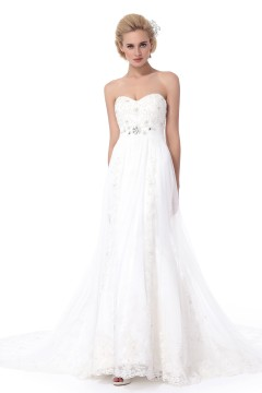 Trumpet Mermaid Sweetheart Chapel Train Lace Wedding Dress Alb12298
