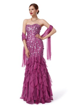 Trumpet Mermaid Sweetheart Floor Length Chiffon Purple Evening Dress F12085