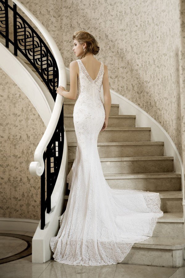 Trumpet Mermaid V-neck Lace Ivory Sleeveless Wedding Dress with Beading and Appliques AWZT15004