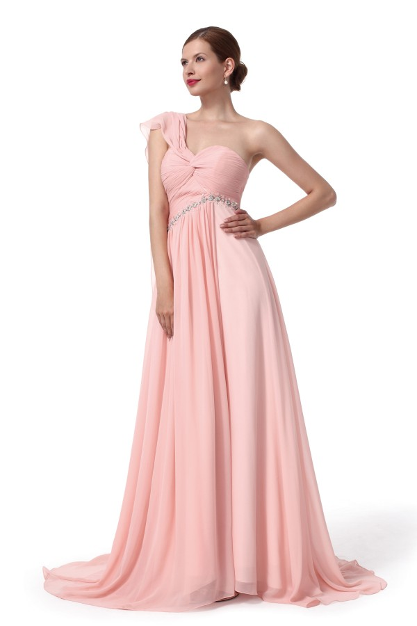 A Line One Shoulder Sweep Brush Train Chiffon Pink Bridesmaid Dress F12005