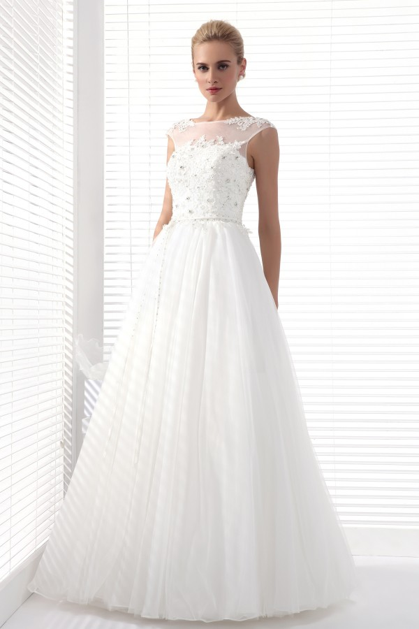 A Line Tank Top Sweep Brush Train Tulle Wedding Dress Alb12300