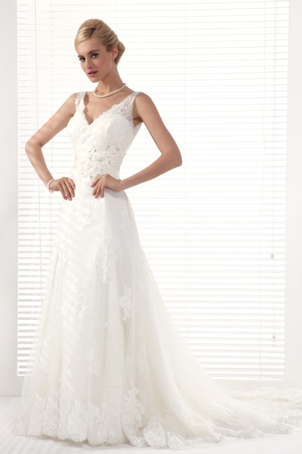 A Line V Neck Chapel Train Lace Wedding Dress Alb12290