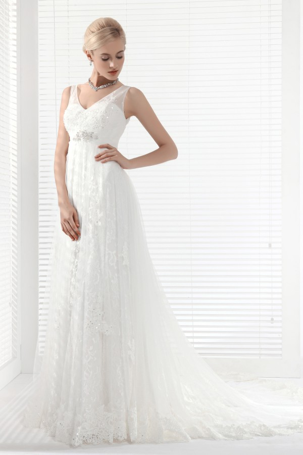 A Line V Neck Chapel Train Lace Wedding Dress Alb12292