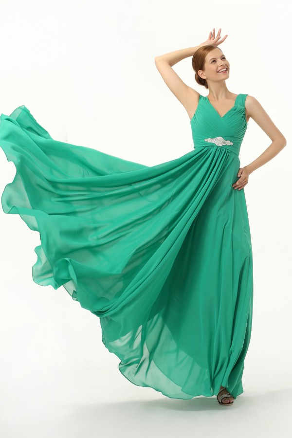 A Line V Neck Floor Length Chiffon Green Bridesmaid Dress C12009