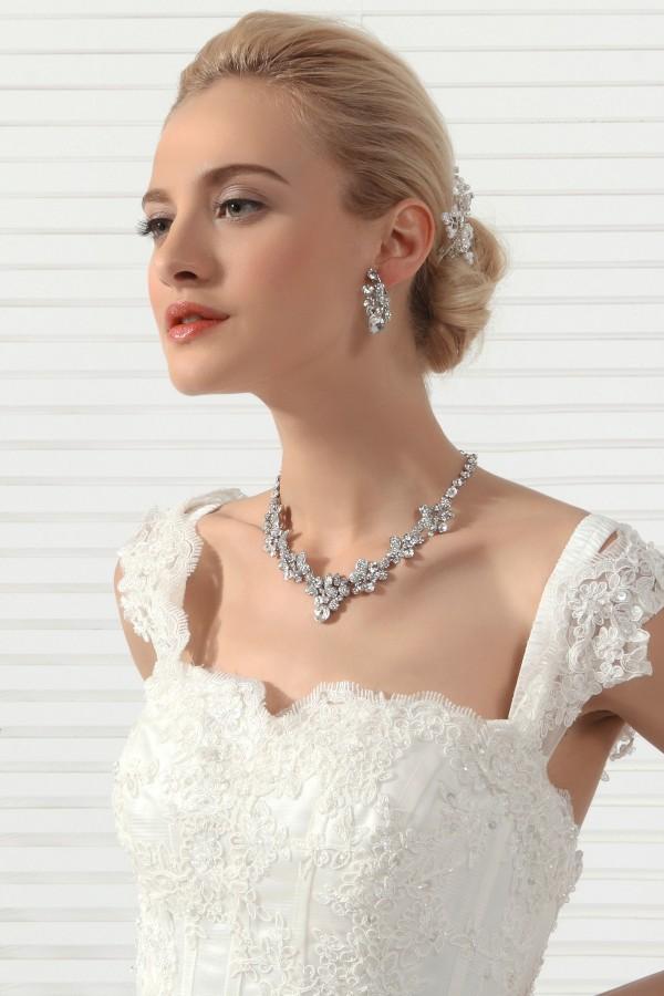 Fashion Rhinestones Wedding Necklace And Earrings Jewelry Set Ajtb0261