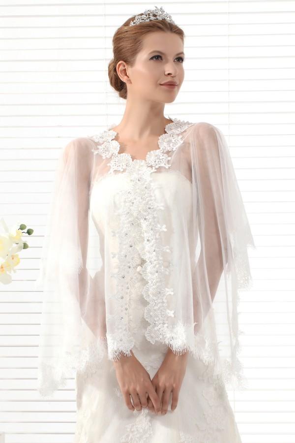 Ivory Half Sleeve Graceful Wedding Wrap Ac5019