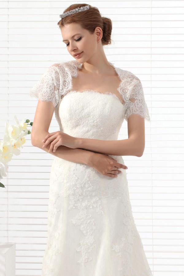 Ivory Short Sleeve Lace Wedding Wrap Ac5027