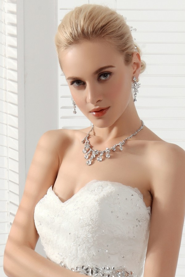 Lovely Rhinestones Wedding Necklace And Earrings Jewelry Set Ajtb0259