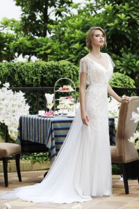 Sheath V-neck Tulle Ivory Cap Sleeve Wedding Dress with Beading and Appliques AWVT15001