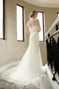 Sheath Jewel Tulle Ivory Sleeveless Wedding Dress with Beading and Appliques AWZT15001