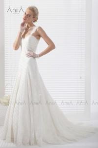 A Line Spaghetti Strap Chapel Train Lace Wedding Dress Alb12294