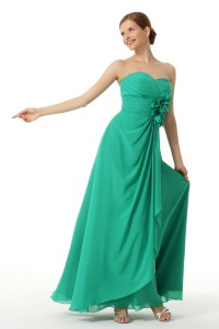 A Line Sweetheart Floor Length Chiffon Green Bridesmaid Dress C12008
