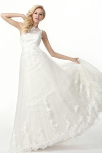 A Line Tank Top Court Train Lace Wedding Dress Alb12322