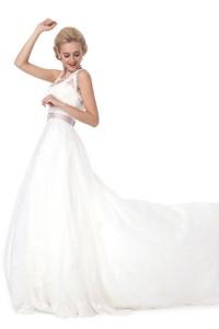 A Line V Neck Court Train Lace Wedding Dress Alb12289