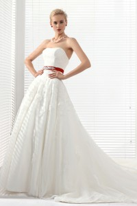 Ball Gown Sweetheart Court Train Lace Wedding Dress Alb12280