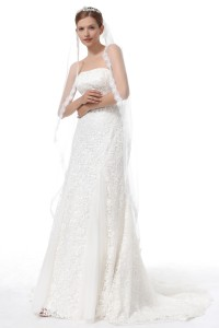 Ivory Tea Length 1 Layer Bridal Veil Ac1288