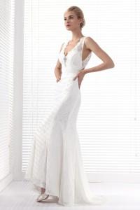 Sheath Column V Neck Court Train Lace Wedding Dress Alb12301