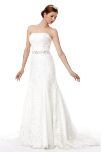 Trumpet Mermaid Strapless Court Train Lace Wedding Dress Alb12297