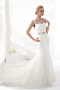 Trumpet Mermaid Straps Chapel Train Lace Wedding Dress Alb12281