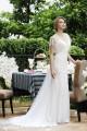 Sheath V-neck Tulle Ivory Cap Sleeve Wedding Dress with Beading AWVT15001