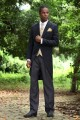 Navy Blue 1 Button Peak Lapel Tuxedo Su0109