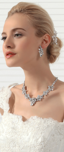 Fashion Rhinestones Wedding Necklace And Earrings Jewelry Set Ajtb0261