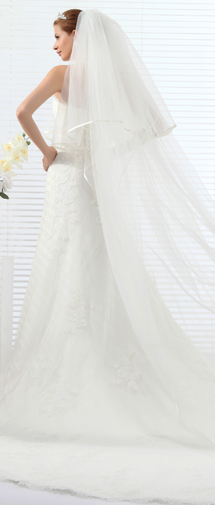 Ivory Chapel Train 1 Layer Bridal Veil Ac1279