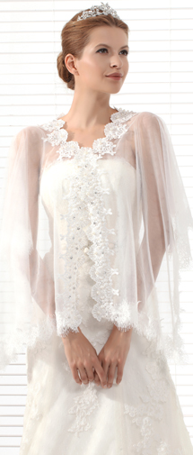 Ivory Half Sleeve Graceful Wedding Wrap Ac5019