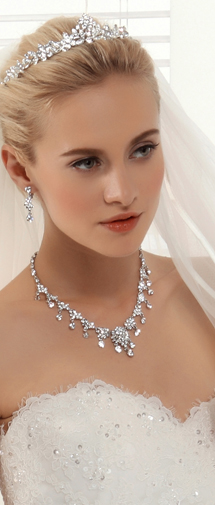 Royal Rhinestones Wedding Necklace And Earrings Jewelry Set Ajtb0264