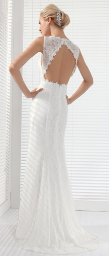 Sheath Column V Neck Court Train Lace Wedding Dress Alb12301