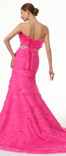 Trumpet Mermaid Strapless Court Train Organza Fuchsia Evening Dress F12090