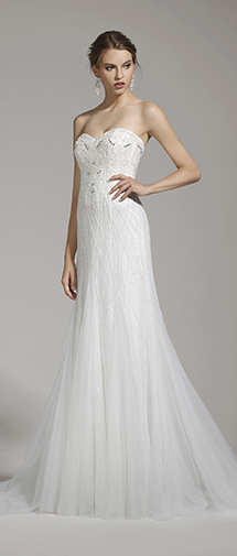 Trumpet Mermaid Sweetheart Tulle Ivory Sleeveless Wedding Dress with Beading and Crystal AWZT15003